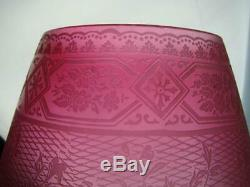 Antique Cranberry Conical Shape Satin Glass Oil Lamp Shade, Etched Decoration