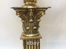 Antique Cranberry Glass Oil Lamp Brass Corinthian Column Embossed Pink Font 81cm