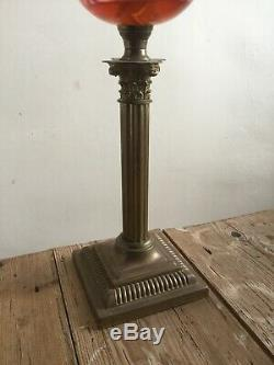 Antique Cranberry Glass Oil Lamp With Brass Corinthian Column Base Complete