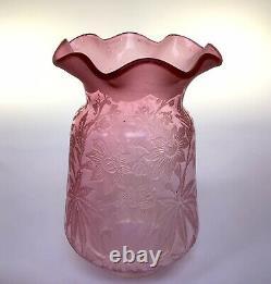 Antique Cranberry Oil Lamp Shade Peg Lamp/Gaudard Shade/Kosmos Shade