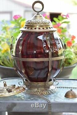 Antique Cranberry Swirl Hanging Parlor PULL-DOWN OIL Lamp with adjustable chain