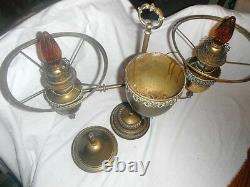 Antique Double Student Lamp Bradley And Hubbard Oil Converted To Electric Rare
