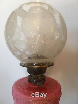 Antique Duplex Burner Oil Lamp With Glass Shade, Pink Reservoir & Brass Column