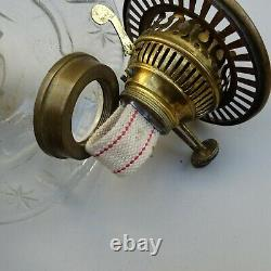 Antique Duplex Oil Lamp Clear Cut Glass Font Brass Corinthian Column Base