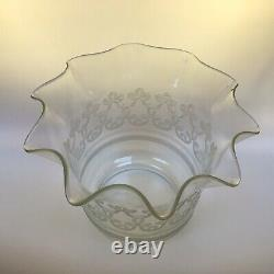 Antique Duplex Oil Lamp Cut Class Font Diamond Etched Tulip Shade
