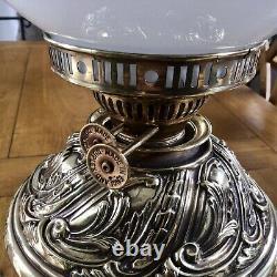 Antique Duplex Oil Lamp Ornate Brass Base & Font Milk Glass Globe Shade