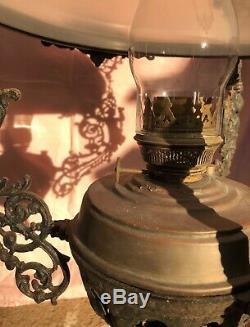 Antique Dutch cast iron hanging oil lamp