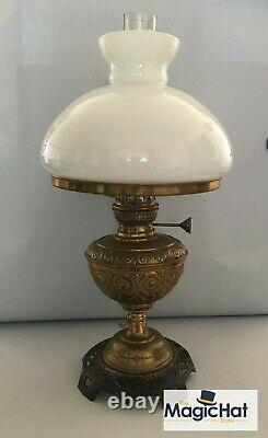Antique Ehrich & Graetz Brass Kerosene Oil Lamp Wunder Lampe Art Nouveau RARE