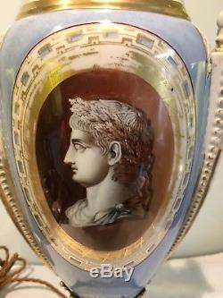 Antique Empire Porcelain Converted Oil Lamp Lamp, caeser, Gilt Decoration