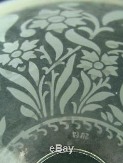 Antique Etched Globe Clear Glass Duplex Oil Lamp Shade, Stylised Floral Design