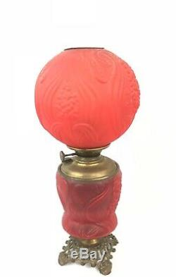 Antique FLOWER Red Cranberry GLASS LAMP Victorian Oil Lamp Gone with the Wind