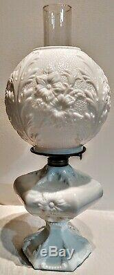 Antique Fostoria Milk Glass Large Sewing Oil Lamp #734 Victorian, Embossed Shade