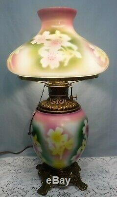 Antique Fostoria Oil GWTW Parlor Lamp Green Purple Flower Brass Base Electrified