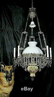 Antique French Oil Lamp Kerosene Candelabra Chandelier Victorian Bronze Crystal