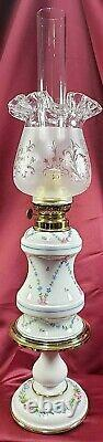 Antique French Oil Lamp Kerosene Porcelain Limoges Gone With The Wind Victorian