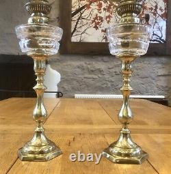 Antique French Oil Lamp Pair Cut Crystal Font Pair Of Small Oil Lamps