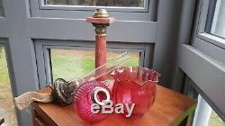 Antique French Red Marble Oil Lamp Base Cranberry cut glass font and shade