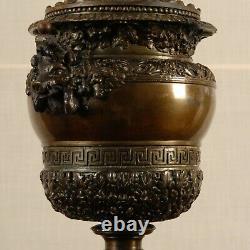 Antique French Victorian Renaissance Oil lamp vase Bronze Claude Ballin 19th c