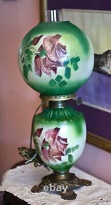 Antique GWTW 1800s All Original Oil Table Parlor Lamp Electrified flower Pattern