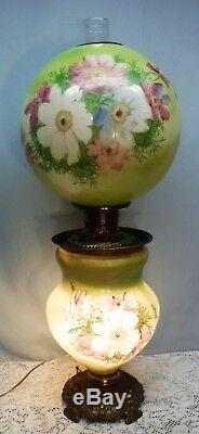 Antique GWTW Oil Lamp Hand Painted Top & Bottom Light Up Electrified