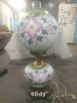 Antique GWTW Oil Lamp electric conversion Gone With The Wind Hand Painted Glass