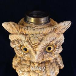 Antique German Owl oil lamp base LARGE