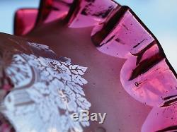 Antique Glass Cranberry Etched Tulip Oil Lamp Shade 4 fitter Hinks no1 Triple