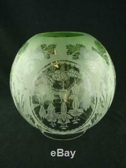 Antique Glass Fully Etched Green Oil Lamp Globe Shade Art Nouveau Fuchia Design