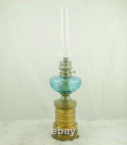 Antique HUGO SCHNEIDER Oil Lamp with Blue Glass Brass spirit kerosene burner