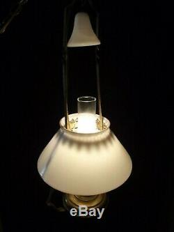 Antique Hanging Oil Lamp VICTORIAN vintage smoke bell milk glass shade BRASS