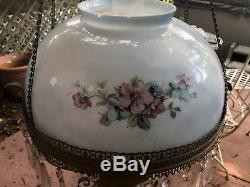 Antique Hanging Oil Lamp with Hand Painted Milk Glass Shade Kerosene