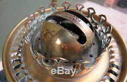 Antique Hinks Hanging Brass & Glass Oil Lamp with Duplex Burner