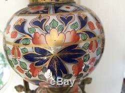 Antique Imari Porcelain Large Victorian Oil Lamp Brass Youngs Duplex Burner