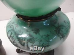 Antique Kerosene Oil Green Dragon Gone With The Wind Victorian Lamp