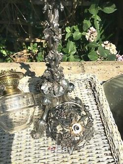 Antique LARGE silver plate naturalistic oil lamp drop in font Youngs Burner