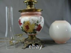 Antique Large Converted Oil Lamp Victorian Brass Painted Flowers Milk Glass GWTW