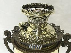 Antique MILLER Brass Fancy Oil Lamp Electrified Parlor Banquet Hurricane Lantern