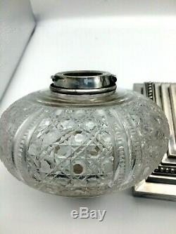 Antique Mappin & Webb large silver oil lamp with oval hobnail cut fount