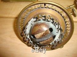 Antique Marble Corinthian Column Oil Lamp Williams & Bach Burner Original Shade