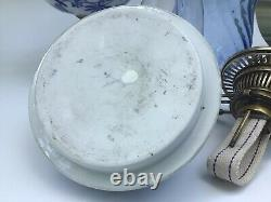 Antique Meissen Blue Onion Oil Lamp Hinks No. 2 Duplex Burner Hinks Collar