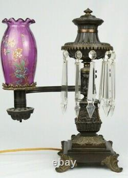 Antique Messenger & Sons Bronze Argand Oil Lamp Electrified