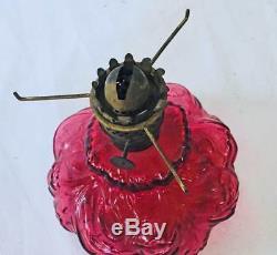 Antique Miniature Cranberry Victorian 2 Part Mini Oil Lamp Shade Acorn Burner 7