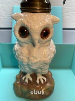 Antique Miniature Porcelain Owl Figurine Oil Kerosene Lamp