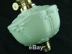 Antique Moulded Green Glass Oil Lamp Font + Brass 8' Kosmos Burner + Chimney