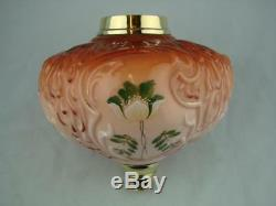 Antique Moulded & Hand Painted Floral, Orange & Peach Oil Lamp Font, 23mm Mount