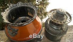 Antique ORANTE 1880s B & H Bradley Hubbard Kerosene Oil Lamp WithSatin Glass Shade