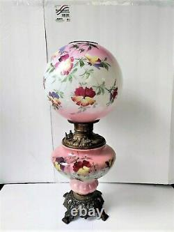 Antique Oil Lamp Consolidated Pink Floral GWTW