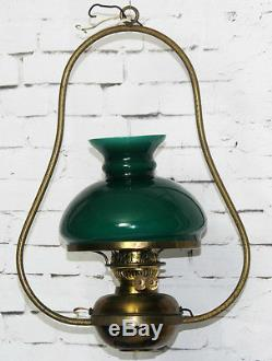 Antique Oil Lamp Converted Electric Hanging Light w Green Glass Shade PL3564