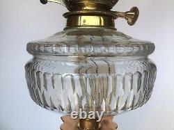Antique Oil Lamp Cranberry Glass Shade T Rowatt & Sons Duplex Burner 80cm Tall