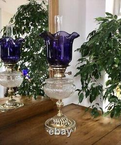 Antique Oil Lamp Duplex NuSun Burner Cut Crystal Font Purple Glass Shade